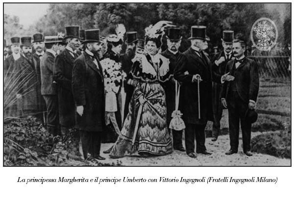 Margherita di Savoia con il principe Umberto e Vittorio Ingegnoli