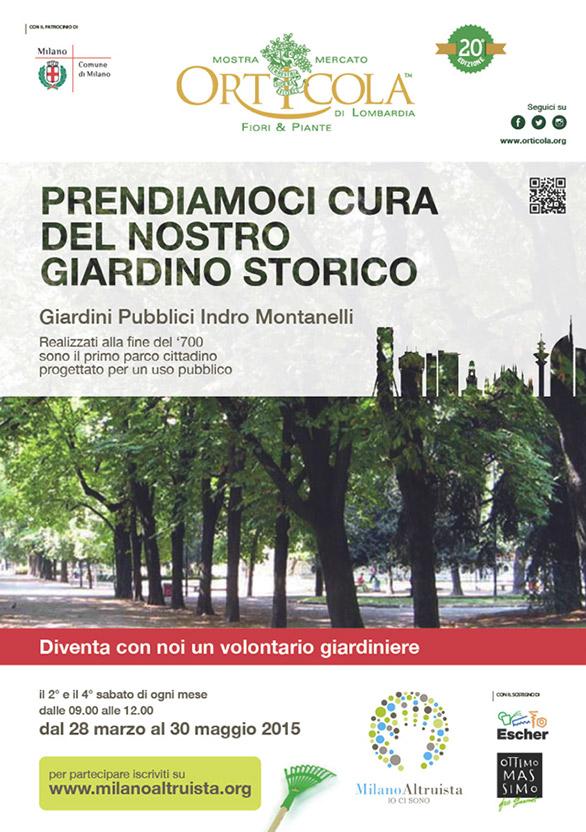 Volontario giardiniere con Orticola ai Giardini Pubblici Indro Montanelli